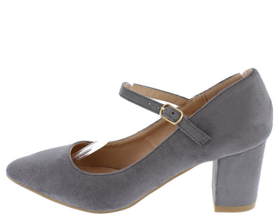 Fate2 Grey Pointed Toe Single Strap Chunky Heel - Wholesale Fashion Shoes