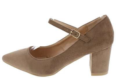 Fate2 Taupe Pointed Toe Single Strap Chunky Heel - Wholesale Fashion Shoes