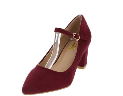 Fate2 Wine Pointed Toe Single Strap Chunky Heel - Wholesale Fashion Shoes