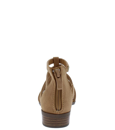 Favor6K Tan Caged Open Toe Kids Low Stacked Heel - Wholesale Fashion Shoes