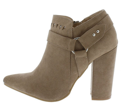 Felicia07 Taupe Suede Laser Cut Ring Strap Ankle Boot - Wholesale Fashion Shoes
