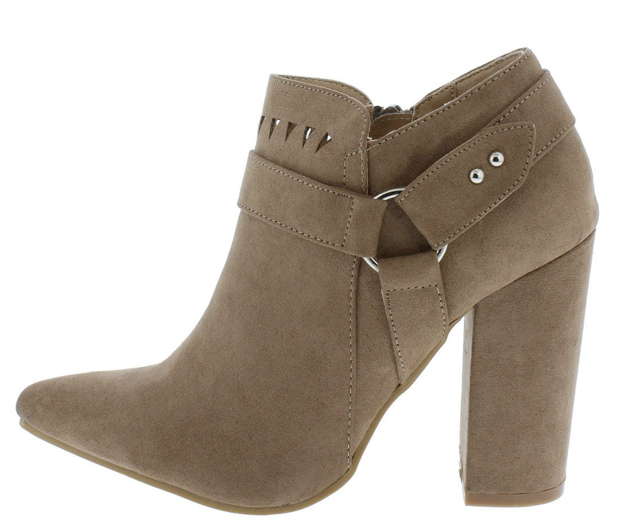 7dea9d2f5971d4 Felicia07 Taupe Suede Laser Cut Ring Strap Ankle Boot - Wholesale Fashion  Shoes