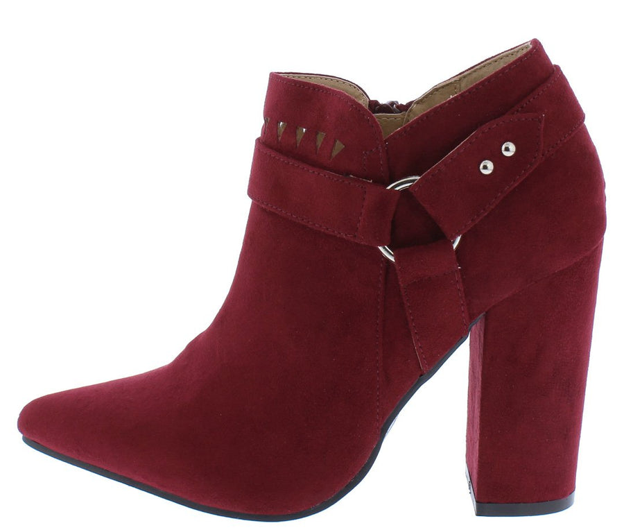 0bb76dcd4ad628 Felicia07 Wine Suede Laser Cut Ring Strap Ankle Boot - Wholesale Fashion  Shoes