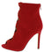 Felicia Red Suede Cross Strappy Peep Toe Ankle Boot