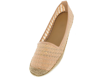 Oceane Pink Sequin Mesh Espadrille Flat - Wholesale Fashion Shoes