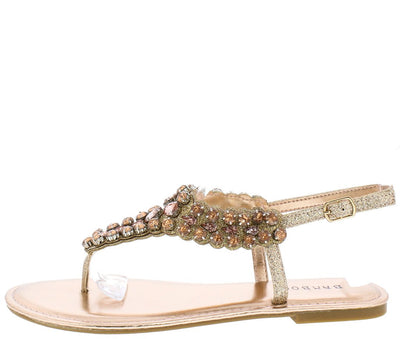 Festival21s Rose Gold Jeweled Glitter Thong Slingback Sandal - Wholesale Fashion Shoes