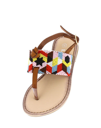 Festive27k Tan Multi Color Sling Back Kids Sandal - Wholesale Fashion Shoes