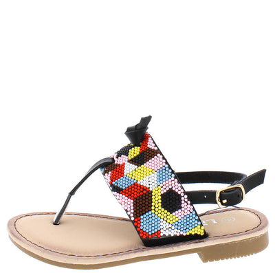Festive27k Black Multi Color Sling Back Kids Sandal - Wholesale Fashion Shoes