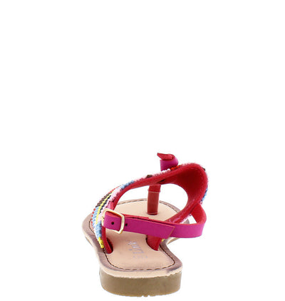 Festive27k Fuchsia Multi Color Sling Back Sandal - Wholesale Fashion Shoes