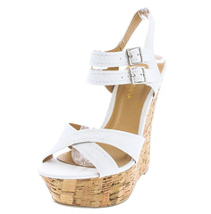 FIAT WHITE PU CORK WEDGE - Wholesale Fashion Shoes