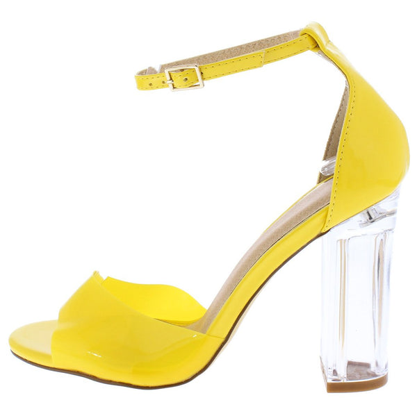 332940bc29 Ruby054 Yellow Pu Peep Toe Ankle Strap Tall Lucite Block Heel