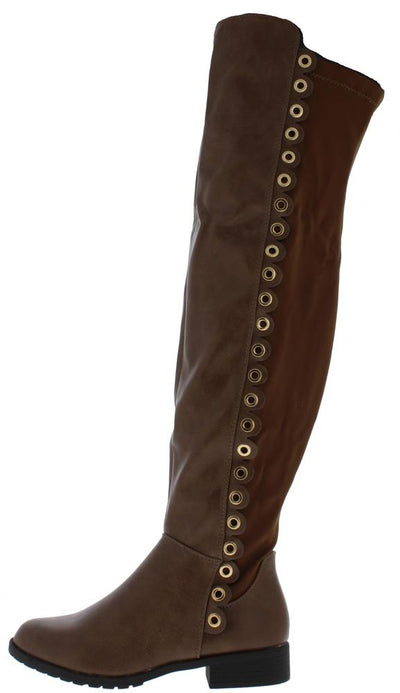 Fifty56 Brown Side Grommet Over The Knee Boot - Wholesale Fashion Shoes