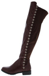 Fifty56 Wine Side Grommet Over The Knee Boot - Wholesale Fashion Shoes