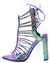 Fina Pink Multi Rhinestone Strappy Open Toe Back Tie Block Heel