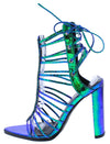 Fina Green Multi Rhinestone Strappy Open Toe Back Tie Block Heel - Wholesale Fashion Shoes