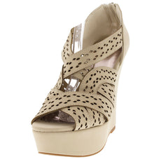 FINDER318 STONE LASER CUT WOVEN STRAP WEDGE - Wholesale Fashion Shoes