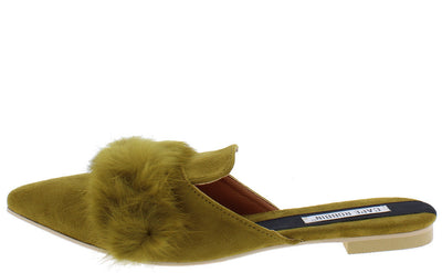 Fine6 Light Olive Furry Pointed Toe Mule Flat - Wholesale Fashion Shoes