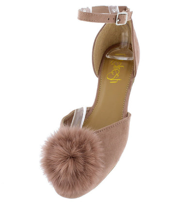 Fiona01 Mauve Fuzzy Pom Pom Almond Toe Flat - Wholesale Fashion Shoes