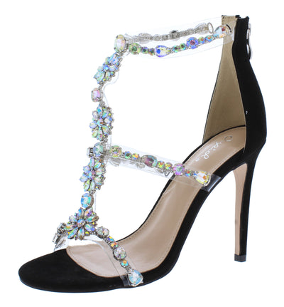 Fitz01 Black Suede Pu Flower Jeweled Open Toe Stiletto Heel - Wholesale Fashion Shoes