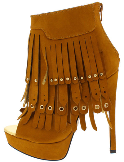 Flash Chestnut Fringe Peep Toe Ankle Boot - Wholesale Fashion Shoes