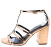Flame Rose Gold Strappy Open Toe Ankle Strap Block Heel - Wholesale Fashion Shoes