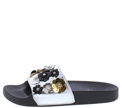 Flatter26s Black Metallic Flower Sequin Mule Slide Sandal - Wholesale Fashion Shoes