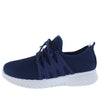 Fleen32 Navy Almond Toe Lace Up Sneaker Flat - Wholesale Fashion Shoes