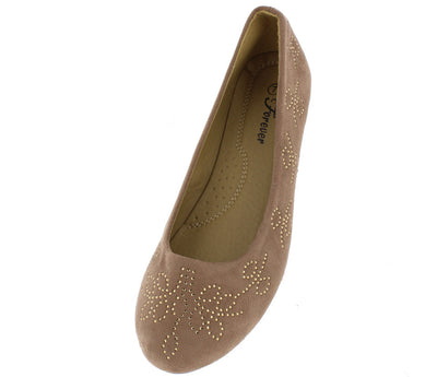 Flexible01 Taupe Rhinestone Flower Slide on Flat - Wholesale Fashion Shoes
