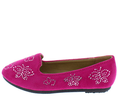 Flexible11k Fuchsia Butterfly Studded Loafer Kids Flat - Wholesale Fashion Shoes