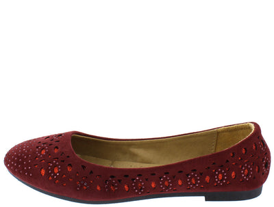 Flexible13 Burgundy Rhinestone Multi Cut Out Glitter Ballet Flat - Wholesale Fashion Shoes