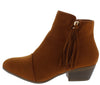 Flick03 Tan Tassel Zip Stacked Heel Ankle Boot - Wholesale Fashion Shoes