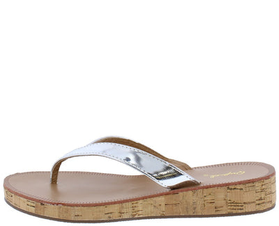 Flip01 Silver Metallic Wedge Cork Sole Thong Sandal - Wholesale Fashion Shoes