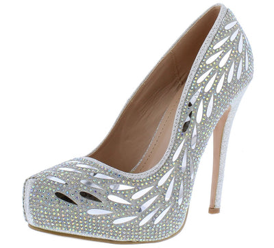 Flower02 Silver Sparkle Embellished Pointed Toe Stiletto Heel - Wholesale Fashion Shoes