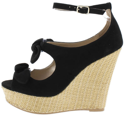 Flower10 Black Suede Pu Dual Knotted Bow Basket Weave Wedge - Wholesale Fashion Shoes