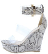 Flower33 Off White Black Snake Pu Women's Wedge - Wholesale Fashion Shoes