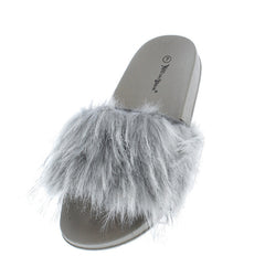 FLUFF01 GREY FURRY SLIP ON FLAT PLATFORM SANDAL - Wholesale Fashion Shoes