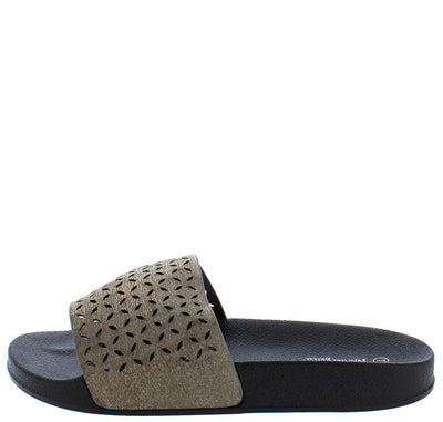 Fluff03 Black Laser Cut Flat Platform Slide on Sandal - Wholesale Fashion Shoes
