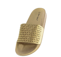 FLUFF03 GOLD WOMEN'S SANDAL - Wholesale Fashion Shoes