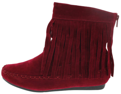 Flurry2 Wine Su Fringe Moccasin Ankle Boot - Wholesale Fashion Shoes