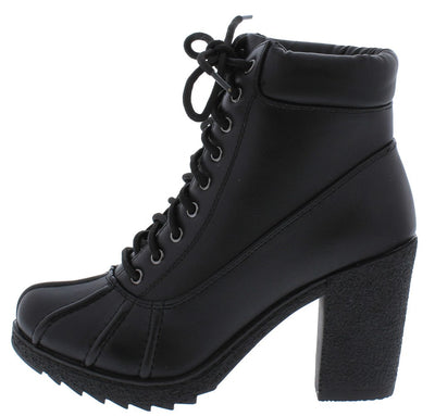 Forest05 Black Pu Lace Up Lug Sole Ankle Boot - Wholesale Fashion Shoes