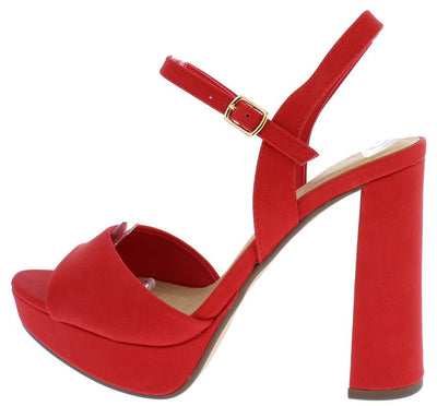 Forest Red Pu Ankle Strap Chunky Platform Heel - Wholesale Fashion Shoes