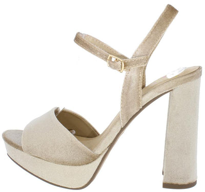 Forest Wheat Velvet Ankle Strap Chunky Platform Heel - Wholesale Fashion Shoes
