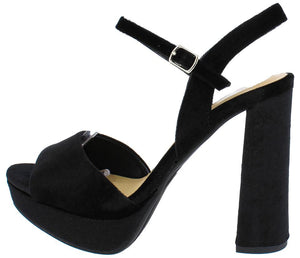 9e442d66cb1 Forest Black Velvet Ankle Strap Chunky Platform Heel - Wholesale Fashion  Shoes