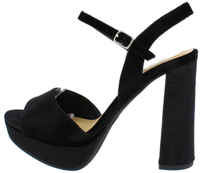 Forest Black Velvet Ankle Strap Chunky Platform Heel - Wholesale Fashion Shoes