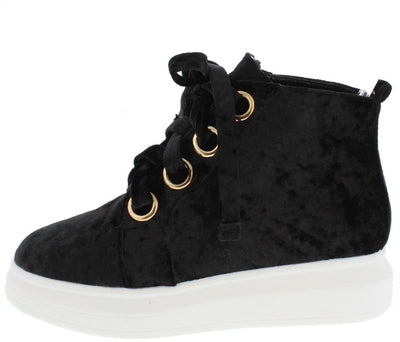 Forever2 Black Velvet Grommet Lace Up Sneaker Flat - Wholesale Fashion Shoes