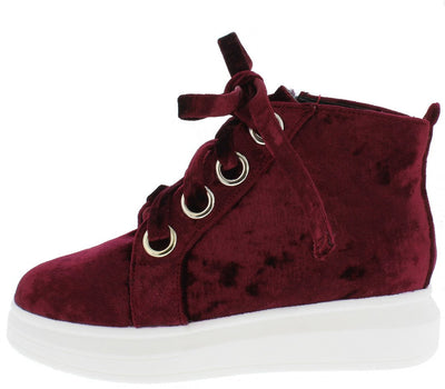 Forever2 Wine Velvet Grommet Lace Up Sneaker Flat - Wholesale Fashion Shoes