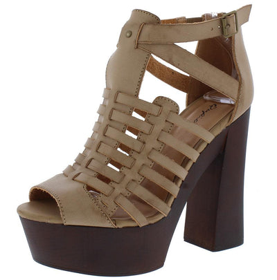 Framey21 Taupe Woven Strappy Wood Chunky Platform Heel - Wholesale Fashion Shoes