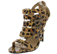 FRANCES02 LEOPARD BUCKLE SINGLE SOLE HEEL - Wholesale Fashion Shoes