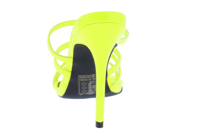 Frasier85 Neon Yellow Patent Pu Strappy Mule Slide Heel - Wholesale Fashion Shoes