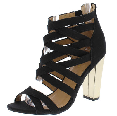 Frenzy07s Black Denim Strappy Peep Toe Metallic Heel - Wholesale Fashion Shoes